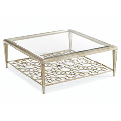 Sociables - Taupe Silver Leaf Square Coffee Table with Fretwork Shelf