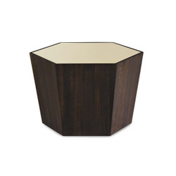"""What'S Your Point - Gold Mirrored Top 27"""" Hexagonal Cocktail Table"""