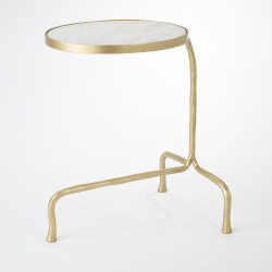 Cantilever Table - Brass w/White Marble Top