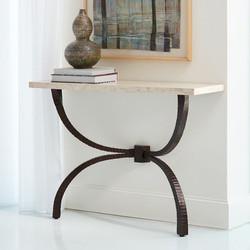 Teton Console   Bronze W/Travertine Top