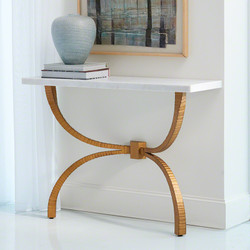 Teton Console - Gold w/White Marble Top