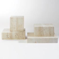 Travertine Cube Riser - Lg