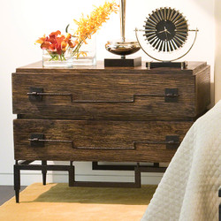 2 Drawer Wide Chest - Dark Brushed Mango