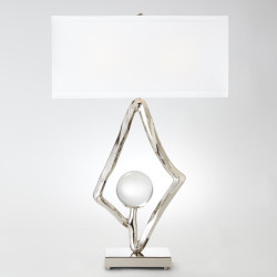 "Abstract Lamp w/6"" Crystal Sphere - Nickel"