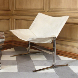 Cantilever Chair - Hair - on - Hide - White