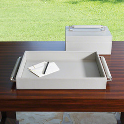 Double Handle Serving Tray - Grey