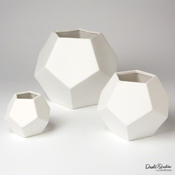 Faceted Vase - Matte White - Lg