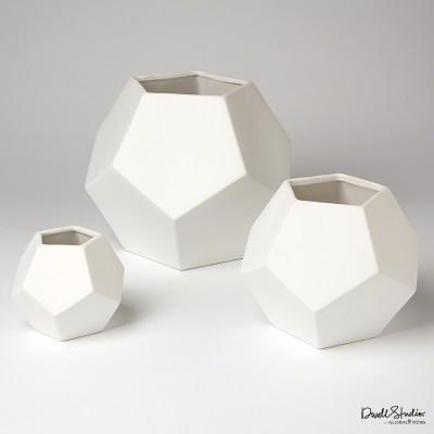 Faceted Vase - Matte White - Sm
