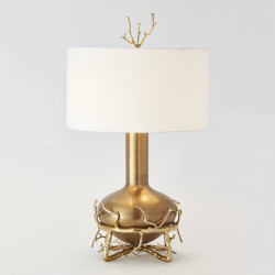 Great Fat Brass Twig Table Lamp