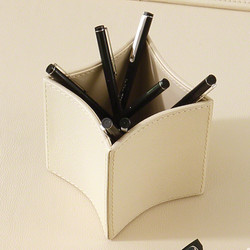 Folded Leather Pencil Cup - Ivory