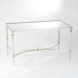 French Square Leg Cocktail Table - Nickel & Mirror