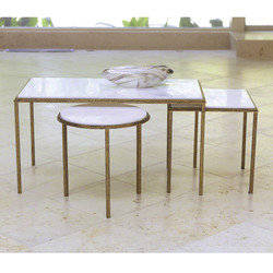 Global Views Hammered Gold Cocktail Table