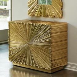 Linen Fold 2 Drawer Chest - Brass