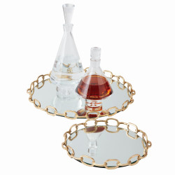 Linked Mirrored Tray - Brass - Lg