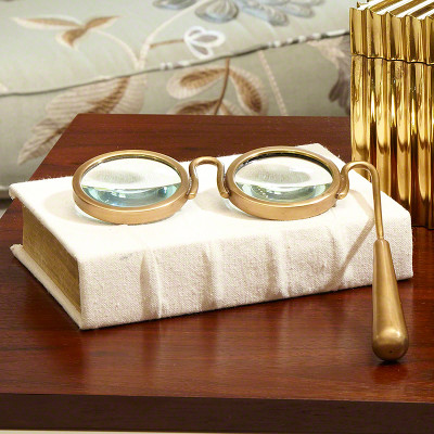 Global Views Lorgnette Magnifying Glass Brass Interior