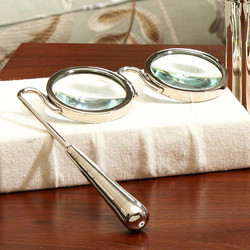 Lorgnette Magnifying Glass - Nickel