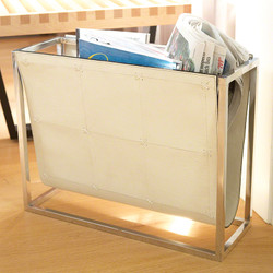 Magazine Caddy - Beige Leather