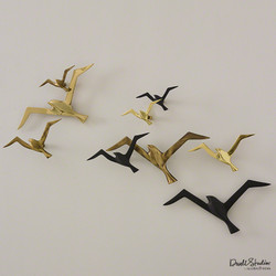 S/3 Metallic Flock Wall Decor - Ant Brass