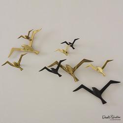 S/3 Metallic Flock Wall Decor - Brass