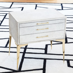 Stiletto Bedside Table - White Hair - on - Hide