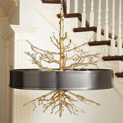 Twig Pendant - Brass on Brass w/Bronze Shade