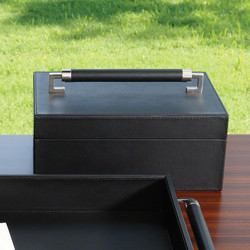Wrapped Leather Handle Box - Black