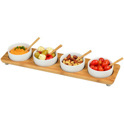 Four Bowl in Line Serving Platter - Bamboo image 1