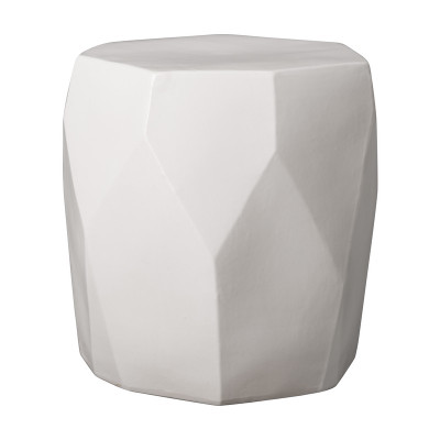 Facet Garden Stool   White