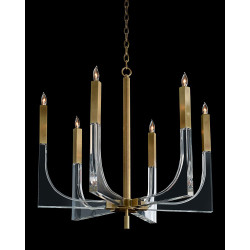 John Richard Acrylic and Brass Six-Light Chandelier - Large