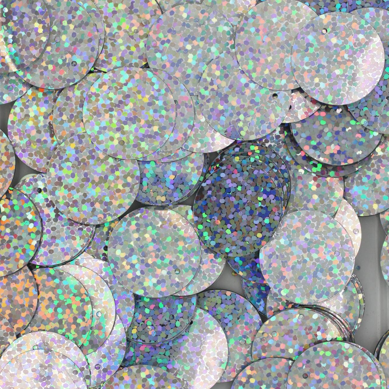 20mm Sequins Silver Hologram Glitter Sparkle Metallic