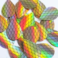 "Teardrop sequins 1.5"" Black Gold Fish Scale Effect Print Lazersheen Reflective Metallic"