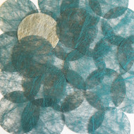 Round sequins 40mm Peacock Teal Silky Fiber Strand Fabric