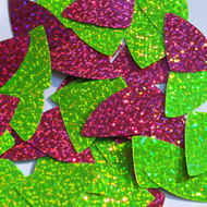 """Fishscale Fin sequins 1.5"""" Lime and Hot Pink Duo Two Sided Hologram Glitter Sparkle Metallic"""