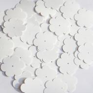 """Flower sequins 1"""" White Matte Silk Frost"""