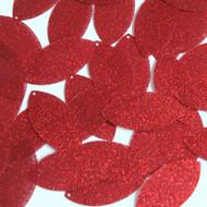 "Navette Leaf sequins 1.5"" Red Metallic Sparkle Glitter Texture"