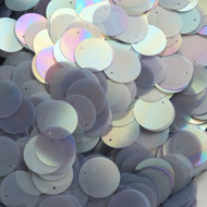 20mm Flat Round Sequins Gray Silver Semi Frost Rainbow