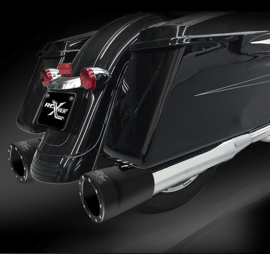 """RCX Exhaust 4.0"""" Slip-on Mufflers, Chrome with 5.0"""" Big Boar Eclipse Tips."""
