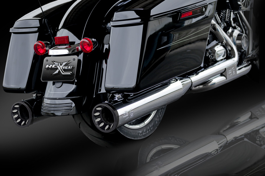 """RCX Exhaust 4.5"""" Slip-on Mufflers, Chrome with Torx Eclipse Tips."""