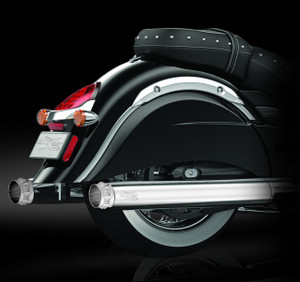 "RCX Exhaust 4.0"" Slip-on Mufflers, Chrome with Edge chrome tips."