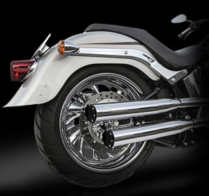 "RCX Exhaust  3.0"" slip-on mufflers with Rival Shorty Eclipse tips."