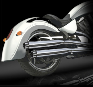 "RCX Victory Exhaust  3.0"" slip-on mufflers with Excalibur Eclipse tips."