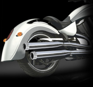"RCX Victory Exhaust  3.0"" slip-on mufflers with Rival chrome tips."