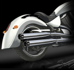 "RCX Victory Exhaust  3.0"" slip-on mufflers with Rival Shorty chrome tips."