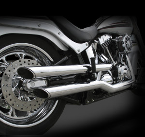 "RCX Super Slip-on mufflers for Softail, Dyna and Sportster models feature a seamless full length heat shield that covers the stock head pipes all the way up to the manifold, providing you a full system look for a slip on price. Choose between a show quality chrome or a rich, black ""ceramic"" coated finish. Amazing sound and performance right out of the box. Includes all necessary hardware and mounting instructions."