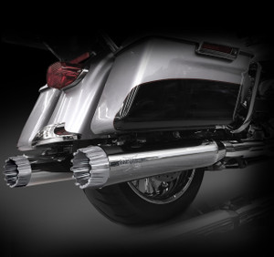 "RCX Exhaust 4.5"" Slip-on Mufflers for 2017 Harley Touring, Chrome with Excalibur Chrome Tips."