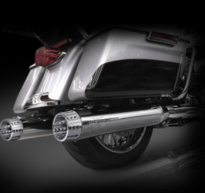 "RCX Exhaust 4.5"" Slip-on Mufflers for 2017 Harley Touring, Chrome with Gatlin Chrome Tips."