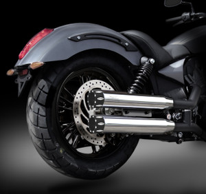 "Victory Octane RCX 3.0"" chrome mufflers with Rival Eclipse tips."