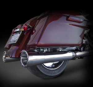 "RCX Exhaust 4.0"" Slip-on mufflers for 2017 HD Touring models fitted with the RCX 5.0"" Big Boar tips."