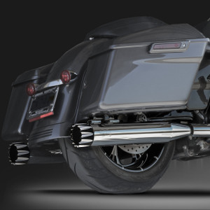"RCX Exhaust 4.0"" Slip-on Mufflers, Chrome with Excalibur Eclipse Tips."