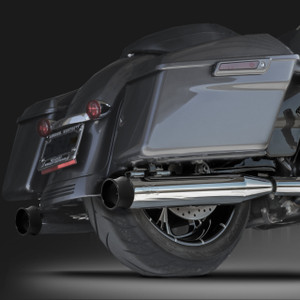 "RCX Exhaust 4.0"" Slip-on Mufflers, Chrome with Thunder black Tips."